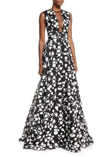 Lela Rose Fil Coupe Mesh-Inset Sleeveless Gown