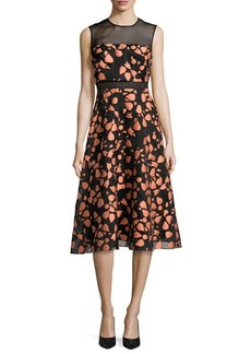 Lela Rose Fil Coupe Sleeveless Full-Skirt Dress