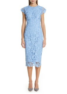 Lela Rose Fitted Floral Guipure Lace Dress