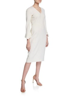 Lela Rose Fitted Handkerchief-Sleeve V-Neck Dress