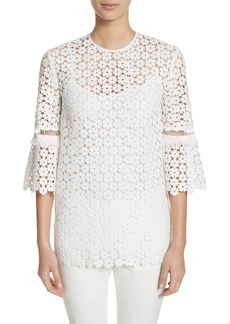 Lela Rose Flare Sleeve Lace Top