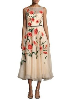 Lela Rose Floral-Appliqué Sleeveless Midi Dress