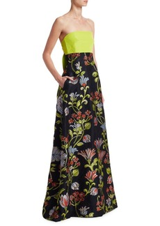 Lela Rose Floral Bow Back Gown