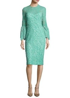 Lela Rose Floral Corded Lace Bell-Sleeve Dress