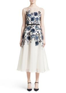 Lela Rose Floral Embroidered Dress