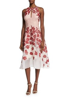 Lela Rose Floral-Embroidered Halter-Neck Dress