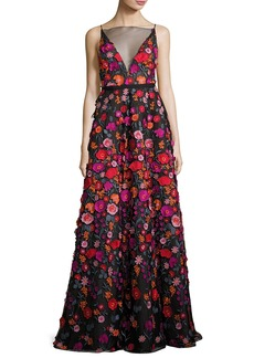 Lela Rose Floral-Embroidered Illusion Ball Gown