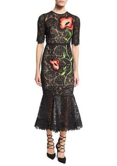 Lela Rose Floral-Embroidered Lace Flounce Midi Dress