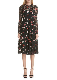 Lela Rose Floral Embroidered Lace Midi Dress