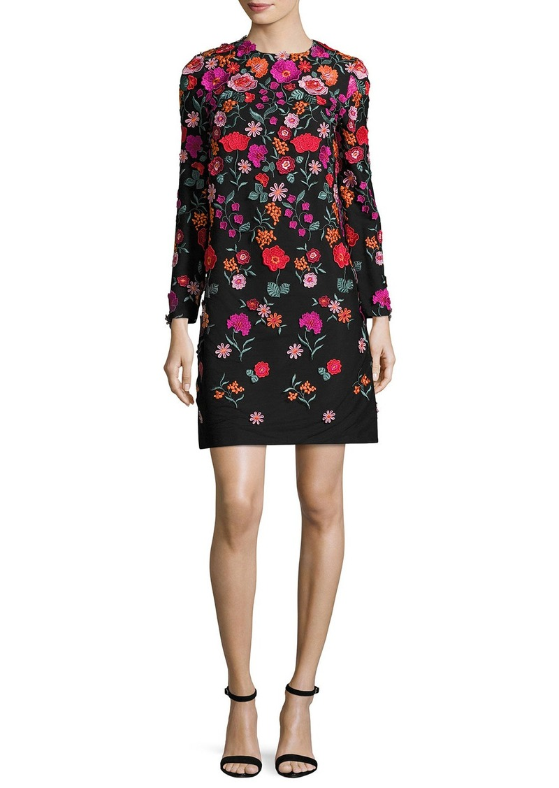 Lela Rose Floral-Embroidered Long-Sleeve Shift Dress