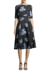 Lela Rose Floral-Embroidered Matelasse Dress