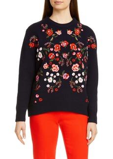 Lela Rose Floral Embroidered Mock Neck Sweater