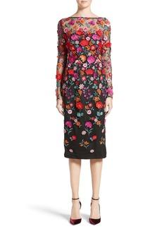 Lela Rose Floral Embroidered Pencil Dress