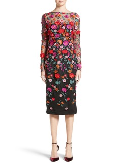Lela Rose Floral Embroidered Pencil Dress