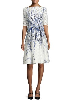 Lela Rose Floral-Embroidered Pleated Cocktail Dress