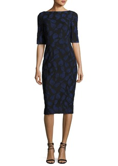 Lela Rose Floral-Embroidered Sheath Dress
