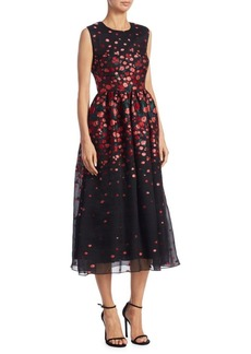 Lela Rose Floral Embroidered Silk Dress
