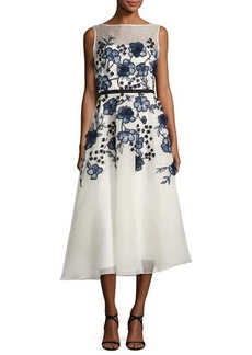 Lela Rose Floral-Embroidered Sleeveless Fit & Flare Dress