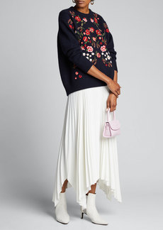 Lela Rose Floral-Embroidered Wool-Cashmere Sweater