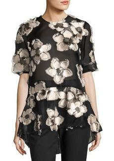 Lela Rose Floral Fil Coupé Short-Sleeve Top