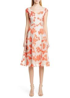 Lela Rose Floral Fil Coupé Stripe Silk Blend Midi Dress