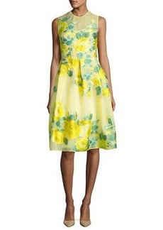 Lela Rose Floral Fil Coupe Full-Skirt Dress