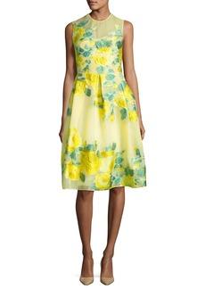 Lela Rose Floral Fil Coupe Full-Skirt Dress