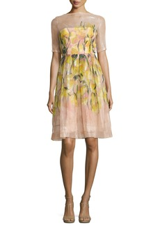 Lela Rose Floral Glossed Organza A-Line Dress