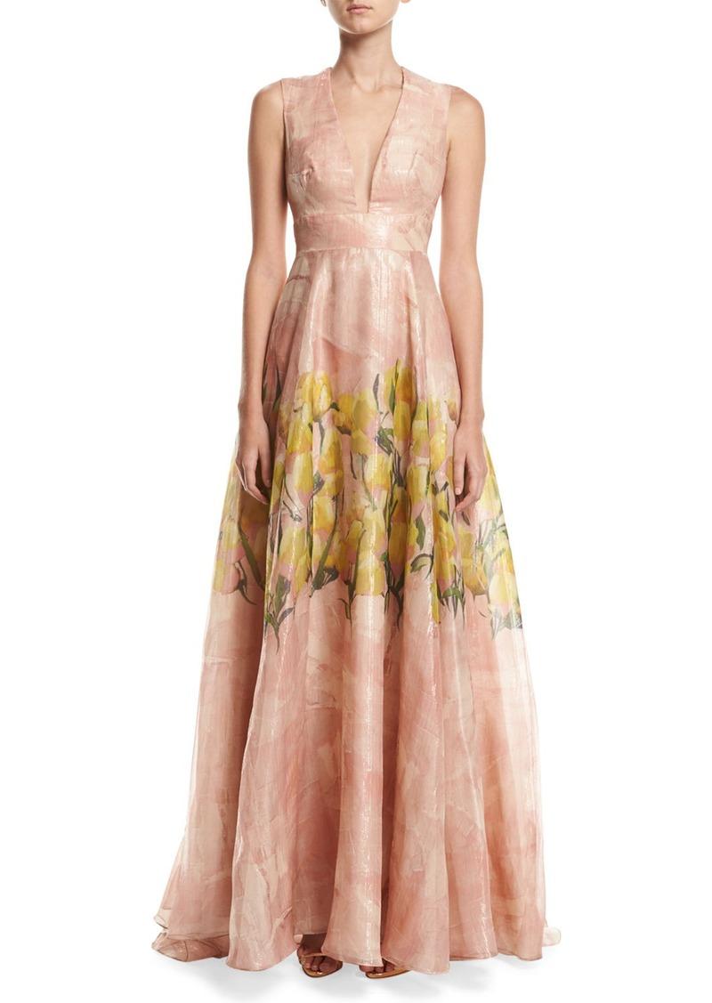 Lela Rose Floral Glossed Organza Deep V-Neck Gown