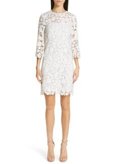 Lela Rose Floral Guipure Lace Dress