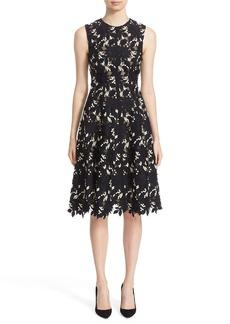 Lela Rose Floral Guipure Lace Fit & Flare Dress
