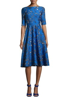 Lela Rose Floral Jacquard Elbow-Sleeve Full-Skirt Dress