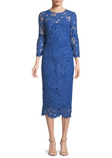 Lela Rose Floral-Lace Flounce-Sleeve Fitted Dress