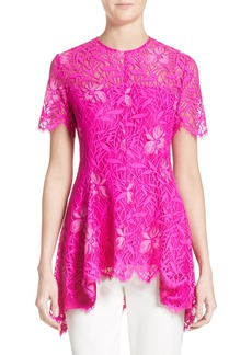 Lela Rose Floral Lace Peplum Top