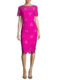 Lela Rose Floral Lace Short-Sleeve Sheath Dress