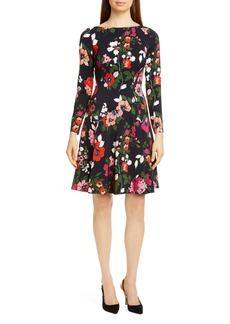 Lela Rose Floral Long Sleeve Wool Blend Dress