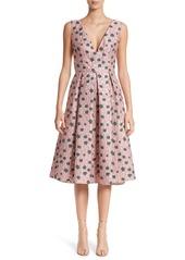 Lela Rose Floral Matelassé A-Line Dress