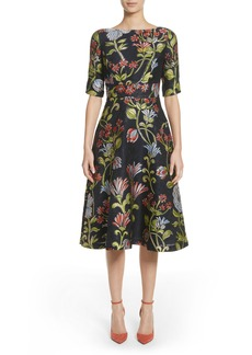 Lela Rose Floral Matelassé A-Line Dress