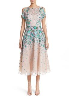 Lela Rose Floral Matelassé Cold Shoulder Dress