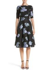Lela Rose Floral Matelassé Fit & Flare Dress