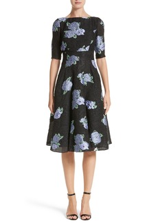 Lela Rose Floral Matelassé Fit & Flare Dress