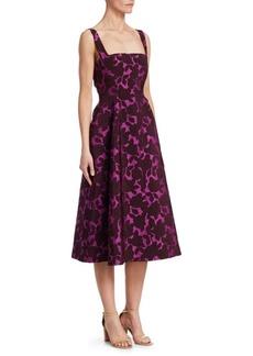 Lela Rose Floral Matelasse A-Line Dress