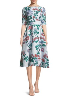 Lela Rose Floral Matelasse Elbow-Sleeve Dress