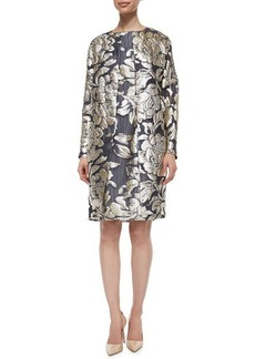 Lela Rose Floral Metallic Fil Coupe Floral Topper Coat