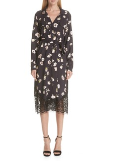 Lela Rose Floral Print Crepe Trench Coat
