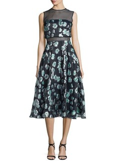 Lela Rose Floral-Print Mesh-Inset Midi Dress