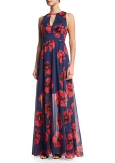 Lela Rose Floral-Print Open-Back Gown