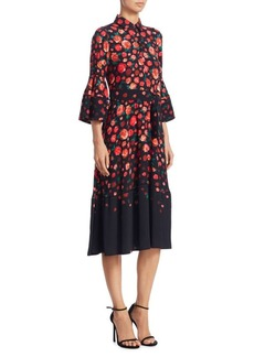 Lela Rose Floral-Print Bell-Sleeve Dress
