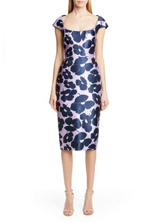 Lela Rose Floral Print Silk Blend Sheath Dress