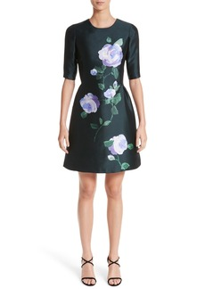 Lela Rose Floral Print Wool & Silk Dress
